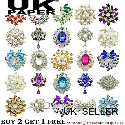 £3.41 • Buy Large Silver Gold Brooch Job Lot Bouquet Pins Diamond Pearl Vintage Rose Crystal