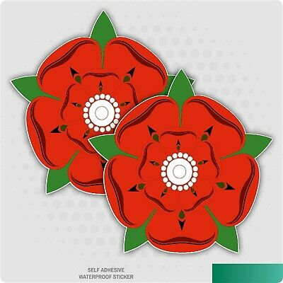 2 X RED ROSE OF LANCASHIRE SELF ADHESIVE STICKERS CAR VAN TRUCK TAXI LORRY • 1.79£