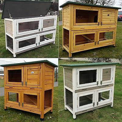 £129.99 • Buy Large Rabbit Hutch Guinea Pig Hutches Run Large 2 Tier Double Decker Cage