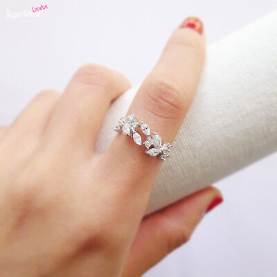 Sterling Silver Sparkling Crystal CZ Leaf Feather Ring UK M • 7.85£