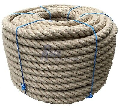 40mm Thick Heavy Duty Jute Rope Twisted Braided Garden Decking Cord 12345678910 • 9£