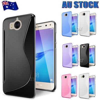 AU4.98 • Buy S Curved Soft Gel TPU Case Cover For Huawei Y5 2017 | Y5 2018 & Y6 2018