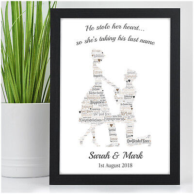 Personalised Engagement Couples Print Gift Present For Engaged Couples Fiance • 5.95£