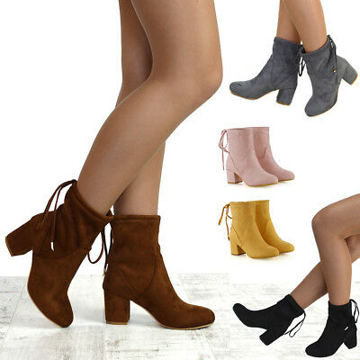 Womens Ankle Boots Chelsea Block Heel Stretch Ladies Pull On Booties Size 3-8  • 21.99£