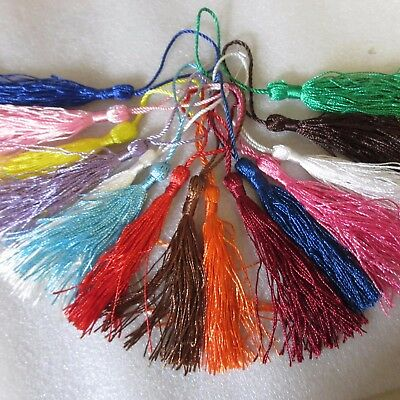 20 Large Silky Tassels, 40 Colours; Or 20-100 Mixed, 8cms, Cushion/Craft/Frills • 2.49£
