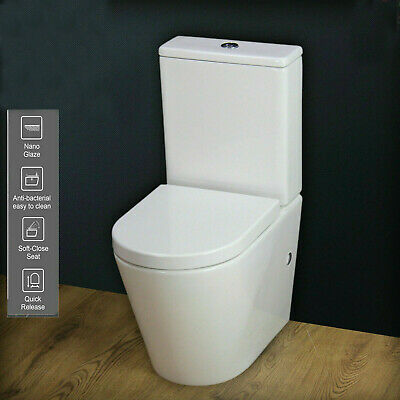 Toilet WC Close Coupled Rimless Round Compact Slim Soft Closing Seat T4SS KL • 159.99£