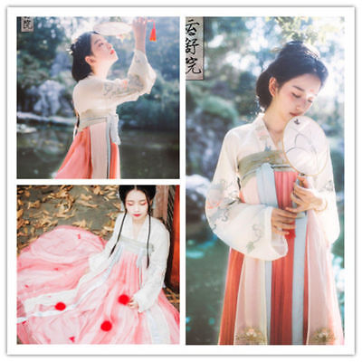 $ CDN66.12 • Buy Chinese Ancient Vintage Hanfu Costume Embroidery Ruqun Long Cosplay Fancy Dress