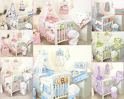 BABY BEDDING SET COT COT BED 3,5,9 Pieces COVERS + BUMPER +PILLOW +DUVET+CANOPY • 24.99£