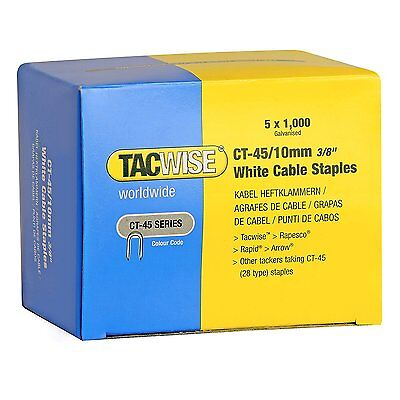 £15.89 • Buy TACWISE CT45 10mm WHITE CABLE TACKER STAPLES, 5,000/BOX (5 X 1,000 Packs)