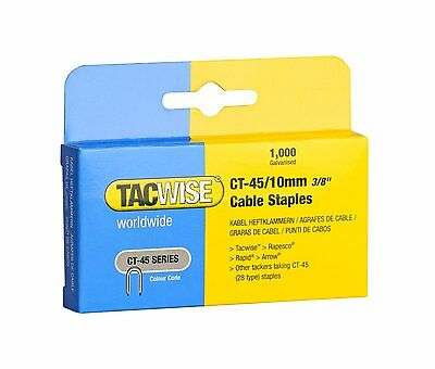 £5.99 • Buy TACWISE CT45 10mm WHITE CABLE TACKER STAPLES, 1,000 PER BOX, FITS CABLE TACKERS