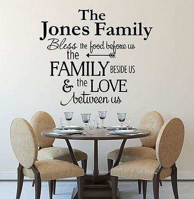 £18.91 • Buy BLESS THE FOOD BEFORE US PERSONALIZED FAMILY NAME Kitchen Vinyl Wall Decal 36