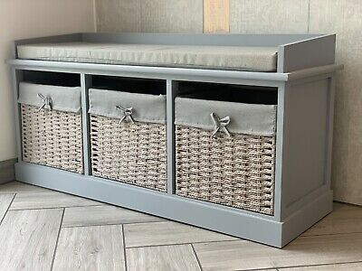 Vintage Wooden Storage Unit Bench Seat Shabby Chic Drawers Cushion Wicker • 129.99£