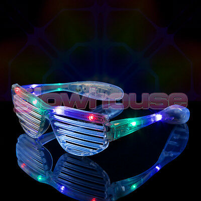 12 X LED Shutter Shades Flashing Glasses Rave Club Party Fancy Dress Light Up • 29.99£