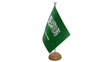 £7.99 • Buy Saudi Arabia Table Flag (9  X 6 ) With Wooden Stand