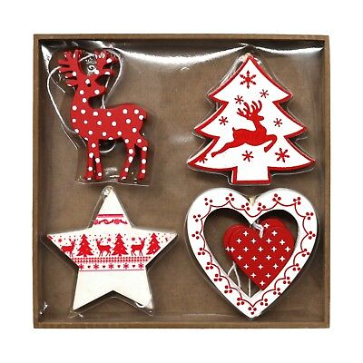 £8.99 • Buy Pack Of 8 Assorted Red & White Wooden Christmas Tree Hanging Pendant Decorations