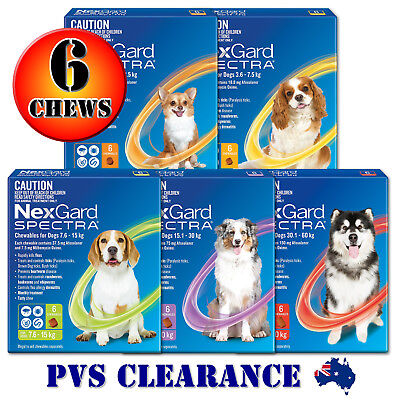 AU111.95 • Buy Nexgard Spectra 6 For All Size Dogs 6-Pack - Orange Yellow Green Purple Red