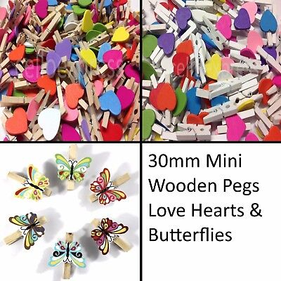 30mm Small Wooden Craft Pegs Mini Clip Metal Spring Tiny Wedding Decor Card • 3.25£