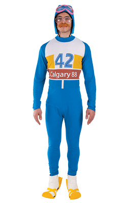 Mens Blue Eddie The Eagle Olympic Skier 80s Celebrity Sport Fancy Dress Costume • 44.99£