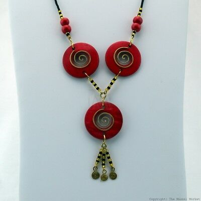 $22.99 • Buy Maasai Market African Jewelry Masai Copper Wire Wood Bead Necklace Red 126-27