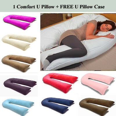 9 Ft / 12 Ft Comfort U Pillow Full Body Maternity Pregnancy Support + Free Case • 16.95£