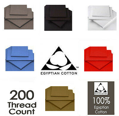 Luxury 100% Egyptian Cotton Fitted , Flat Sheets 200 Thread Count All Sizes • 3.49£