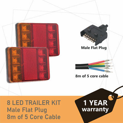 AU36.25 • Buy Pair Of 8 LED TRAILER LIGHTS KIT And 1 X Trailer Plug,  8M X 5 CORE CABLE 12V