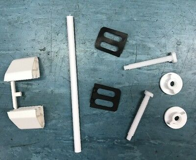 Toilet Seat Hinges Fixings Replacement Rod Block Washers And Bolts Nuts In White • 4.25£
