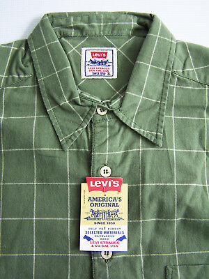 £26.99 • Buy Levi's Checked Shirts Men's Large L Extra Large XL Green Grey Unworn Vtg Tags