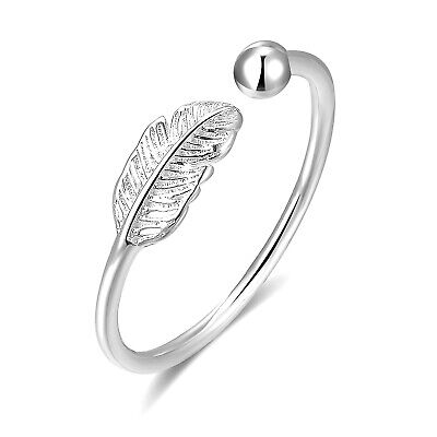Sterling Silver Feather Angel Finger Bead Ball Open Ring Adjustable  • 7.85£