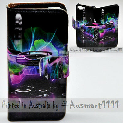 AU14.98 • Buy For Sony Xperia Series - Neon Car Theme Print Wallet Mobile Phone Case Cover