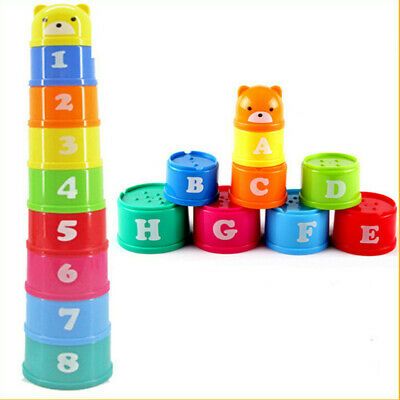 9pcs Stacking-up Stack Toy Rainbow Color Cups Kids Baby Educational Toy Gift • 5.13£