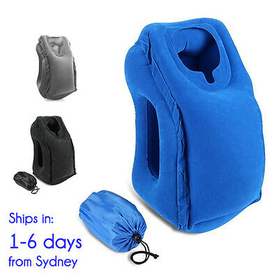 AU28.25 • Buy Inflatable Air Cushion Neck Support Travel Pillow For Airplane Rest In Blue