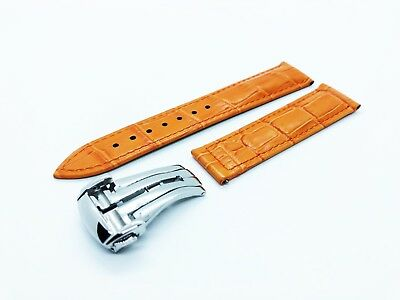 Orange 22mm Genuine Leather Strap/Band Fit Omega SeaMaster/PlanetOcean Watch • 25.90£