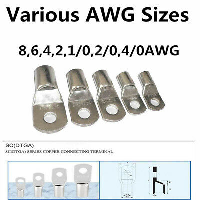 $ CDN11.86 • Buy Tinned Copper Cable Lugs Ring Terminals Various AWG Sizes For Welding / Battery
