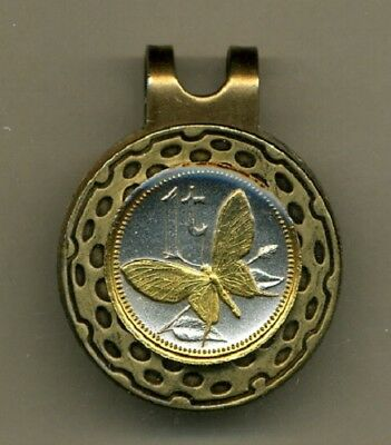 Papua New Guinea 1 Toea Coin Butterfly Gold On Silver Hat Clip /Ball Marker Gift • 74$