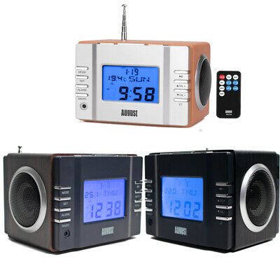 August Clock Radio Display Retro MP3 USB SD FM Station Alarm Clock August MB300 • 21.95£