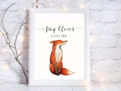 Stay Clever Print Little Fox Quote Glossy Poster A4 Paint Splat Nursery UNFRAMED • 3.85£
