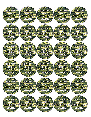 £4.47 • Buy 30 X PREMIUM CAMOUFLAGE ARMY EDIBLE ICING CUP CAKE TOPPERS CAN PERSONALIZE D1