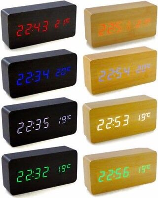New Voice Control Calendar Thermometer Wooden LED Digital Alarm Clock USB/AAA   • 9.99£