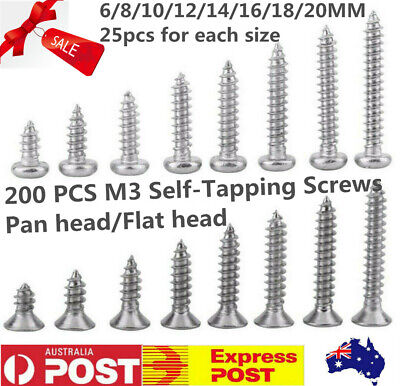AU11.04 • Buy 200Pcs M3  Pan/Flat Head Self-Tapping Screws 304 Stainless Steel Assorted Kit AU