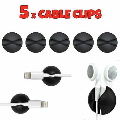 5 X Black Cable Wire Cord Lead Drop Clips Usb Charger Holder Tidy Desk Organiser • 2.65£