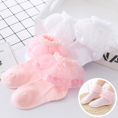 Lovely Girls Kids Children Toddlers Frilly Lace Trim School Party Socks 2-8y • 2.99£