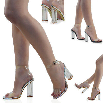 Womens High Heel Ankle Strap Sandals Perspex Ladies Clear Block Heel Party Shoes • 19.99£