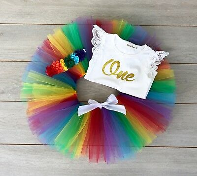 AU45 • Buy Rainbow Cake Smash Outfit 3 Piece 1st Birthday Tutu Set Baby Girl First Birthday