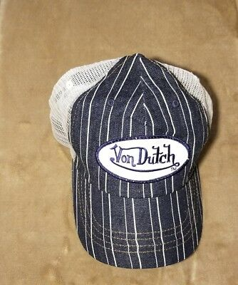 cf94cd85 Vintage VON DUTCH Mesh Snapback Trucker Hat Cap Pin Stripe Blue White U.S.A  MADE • 26.88
