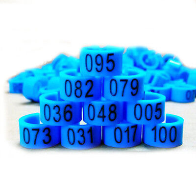 New 100 Pcs 8mm 1-100 Numbered Poultry Leg Bands Bird Pigeon Duck Rings Clip YS • 3.11£