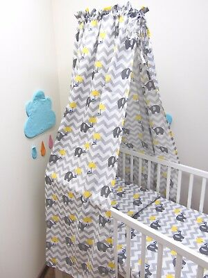 10 Pcs Baby Nursery Bedding Set 120x90/135x100 Elephants Yellow Umbrella CANOPY • 14.99£