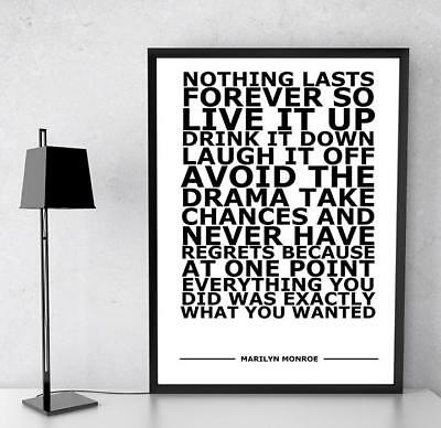 Marilyn Monroe Nothing Lasts Famous Quote Typography Art Poster Print A4 A3 • 3.92£