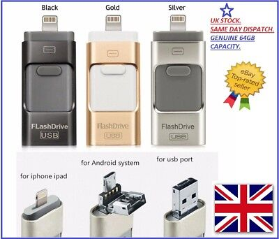 £13.81 • Buy USB I Flash Drive OTG Device Memory Stick For IPhone IPad Android 64/128/256gb