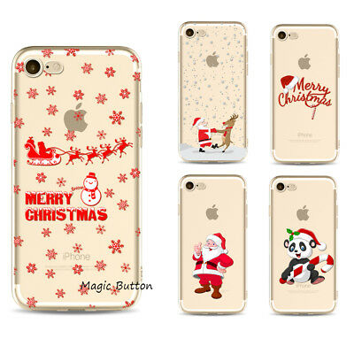 AU5.39 • Buy For IPhone 8 7 6s Plus SE 2020 Christmas Pattern Print Clear Cover Soft Case